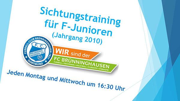 Hinweis zu den Trainingszeiten - Sichtungstraining für F Junioren(Jahrgang-2010)